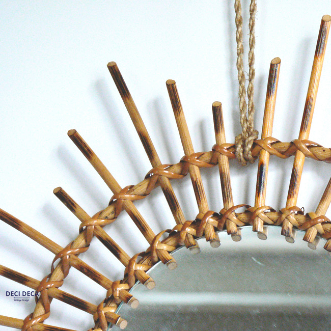 Miroir soleil en rotin de ci de a design meubles et for Glace soleil miroir